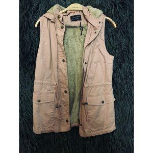Faux fur parka-style vest